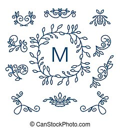 Big Vector set of line floral design elements for logos, frames and borders