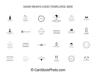 Big vector set of logo templates for children related...