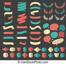 Big vector set of ribbons, laurels, wreaths and speech bubbles in flat style.