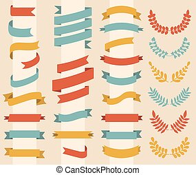 Big vector set of wreaths, laurels and ribbons in modern flat style.