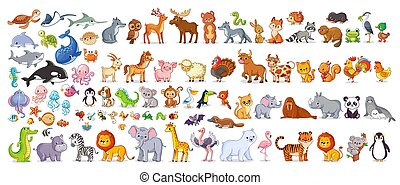 Big vector set with animals in cartoon style. Vector collection