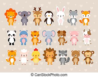 Big vector set with cute animals. Illustration in a cartoon style.