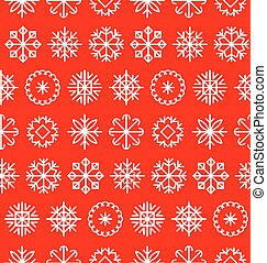 Big vector snowflakes set in flat style. Colorful Christmas texture, New Year pattern. Nativity elements.
