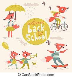 Big vector welcome back to school designs with cartoon animals.