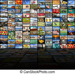 Big video wall of the TV screen