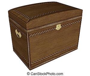 Big vintage wooden box - 3D render
