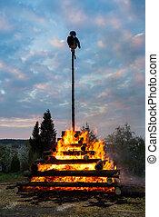 big walpurgis night fire with witch - walpurgis night...