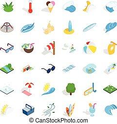 Big water icons set, isometric style