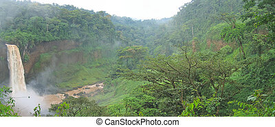 Big waterfall in the tropical jungle - Cameroon - Africa - Panorama.