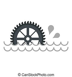 Big waterwheel icon isolated - Big waterwheel icon flat...