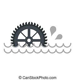 Big waterwheel icon isolated - Big waterwheel icon flat...