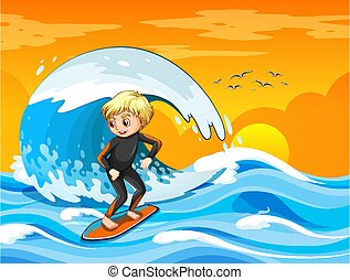 Big wave in the ocean scene with boy standing on a surf board