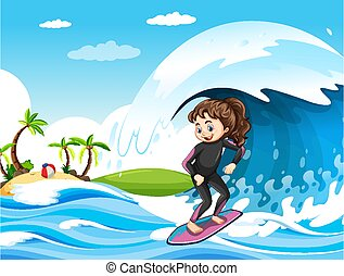 Big wave in the ocean scene with girl standing on a surf board