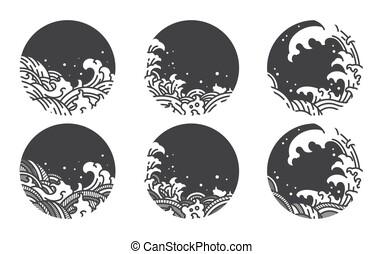 Big wave line logo vector set.Chinese.Thai.