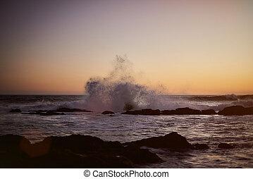 Big wave splash on ocean