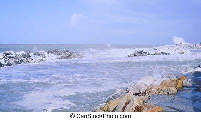 Big waves and storm in Marina di Pisa.