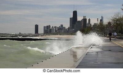 Big Waves at Chicago 1 - Large waves splashing against the...