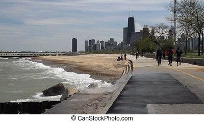 Big Waves at Chicago 2 - Large waves splashing against the...