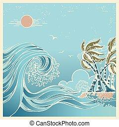 Big waves blue seascape - Huge wave.Vector blue seascape...