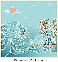 Big waves blue seascape - Huge wave.Vector blue seascape...