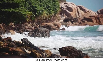 Big Waves Crashing on Stone Beach. 1920x1080, hd