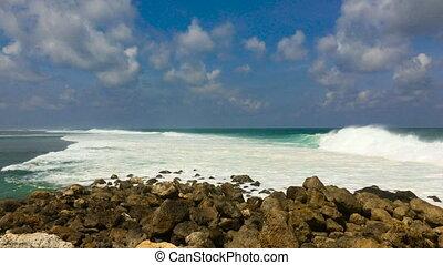 Big waves on the Melasti Beach on the Bali island, indonesia