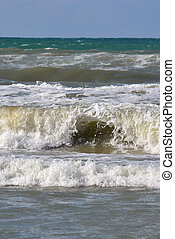 Big waves on the sea.