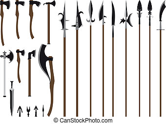big weapon set - A large set of medieval weaponry. Spears, ...