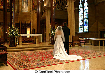 Big Wedding Day - Bride and Groom at the altar wide angle ...