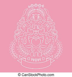 Big wedding graphic set of laurels, wreaths, arrows, ribbons, hearts, flowers, birds and labels in vector.