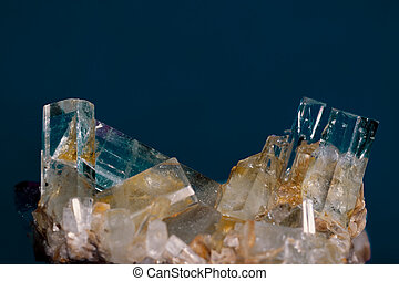 Big well formed Aquamarine crystals on matrix rock. Birthstone for March. Healers use aquamarine for problems related to thymus gland and fluid retention. Found in Pakistan.