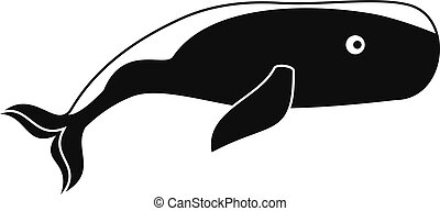 Big whale icon, simple style