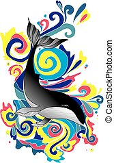 Big whale in colorful threads. It can be used as a sketch...