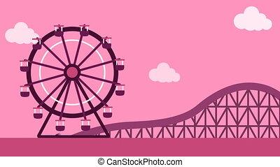 Big wheel and roller coaster ride in fun n fair