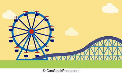 Big wheel and roller coaster ride in fun n fair -...
