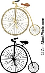 Retro bicycle with a big wheel on a white background.