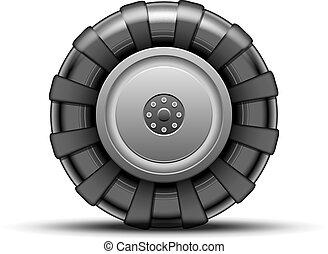 Big wheel - Big black wheel of tractor isolated on white...