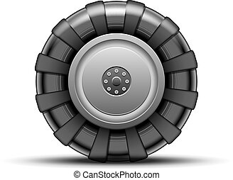 Big black wheel of tractor isolated on white background. EPS10 opacity. Editable EPS and Render in JPG format