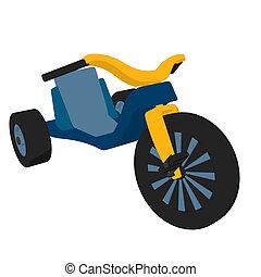 Big Wheel Illustration - Big wheel bicycle on a white...