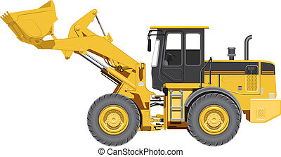 Big wheel loader. Illustration in vector format