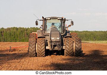 Big wheeled modern tractor in field