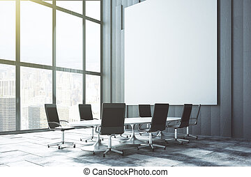 Big white blank poster on the wall in loft conference room at sunrise, mock up