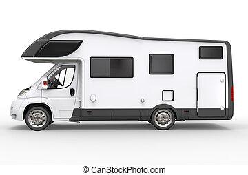 Big white camper vehicle - side view