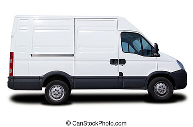 Cargo Van - Big White Cargo Van Isolated