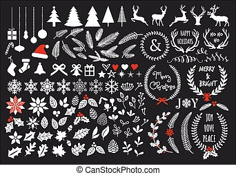 White Christmas, big set of graphic design elements, vector