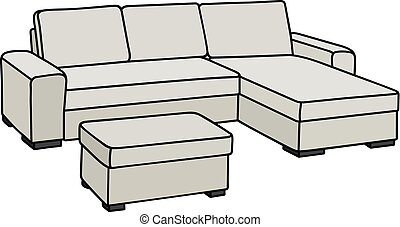 Big white couch - Hand drawing of a comfortable big light...