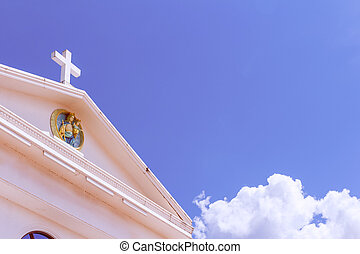 white cross on blue sky