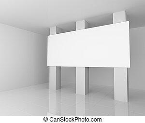 Big White Empty Billboard in the White Interior - Big White...