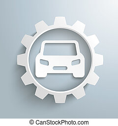 Big White Gear Car - Infographic with gear and car on the...