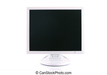 Big white LCD monitor with empty screen